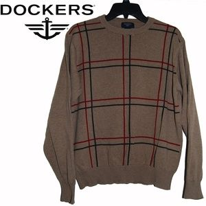 Dockers – Tan, Red & Blue Plaid Crew Neck Sweater